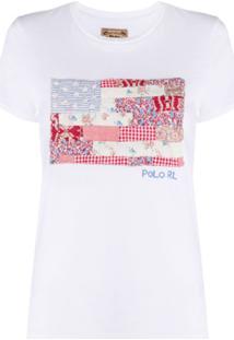 Polo Ralph Lauren Camiseta Bandeira Americana Com Patchwork - Branco
