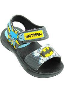 Sandália Infantil Liga Da Justiça Batman Masculina - Masculino-Preto+Azul