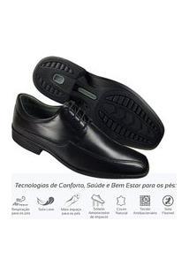 Sapato Masculino Social Couro Leve Comfort De Amarrar 45501 Preto