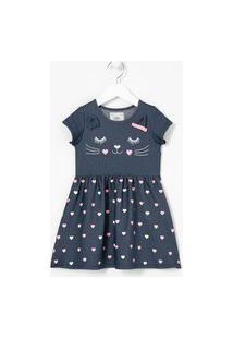 Vestido Infantil Estampa De Gatinha Com Orelhinhas 3D - Tam 1 A 5 Anos | Póim (1 A 5 Anos) | Azul | 01