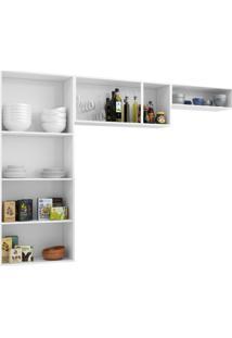 Cozinha Compacta Pérola 3 Peças 5 Portas De Vidro E Balcão Com Tampo Telasul Branco