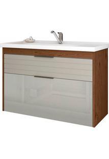 Gabinete Suspenso Para Banheiro Azaléia 56X79,3Cm Amêndoa E Off White