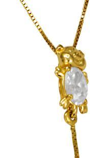 Gargantilha Com Pingente De Garotinha Em Balanço Com Ródio E 10 Diamantes - Gg18046