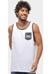 Regata Oakley Label Tank Masculina - Masculino-Branco