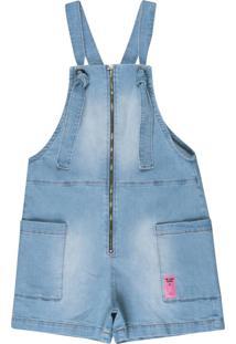 Jardineira Jeans Feminina Azul