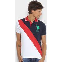 Camisa Polo U.S.Polo Assn Piquet Recorte Diagonal Frisos Bordado Masculina  - Masculino-Marinho+ 459fcc53e7f0d