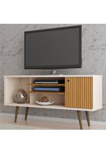 Rack Para Tv Até 55 Polegadas Safira 1 Porta Cinamomo/Off White/Ripado - Móveis Bechara