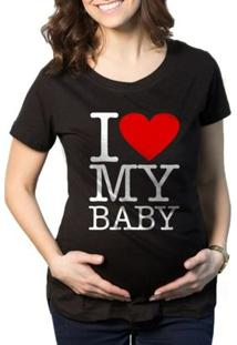 Camiseta Criativa Urbana Gestantes - Grávidas Love Baby - Feminino-Preto