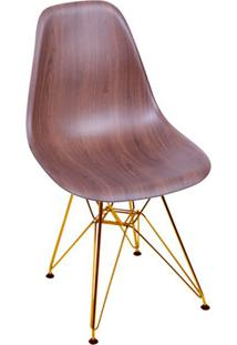 Cadeira Eames Eiffel Com Base Metal Wood Escuro