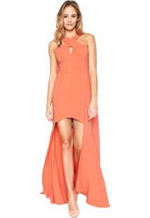 Vestido Morena Rosa Longo Capa Coral