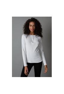 Amaro Feminino Yogini Camiseta Cotton Rib Botões Clara, Branco
