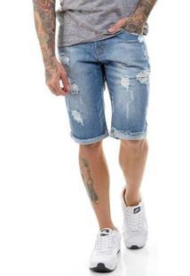 Bermuda Jeans Premium Destroyed Slim Fit Offert Masculina - Masculino-Azul Claro