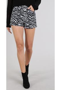 Short De Sarja Feminino Hot Pants Estampado Animal Print Branco