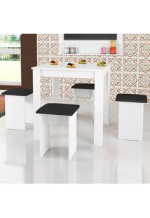 Mesa De Jantar 4 Lugares Com Banquetas Florença Branco - Art In Móveis