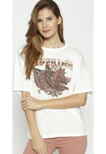 Camiseta Com Correntes - Off White & Marrom - Colccicolcci