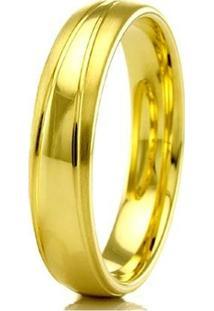 Aliança De Casamento Masculina Em Ouro 18K 5Mm Modelo Liso E Fosco Wm Jóias - Masculino