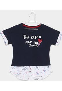 Camiseta Infantil Lilica Ripilica Feminina - Feminino-Azul
