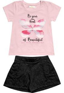 Conjunto Blusa Com Short Infantil Rosa