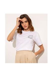 T-Shirt De Algodão Com Bordado Ícone Manga Curta Decote Redondo Mindset Off White