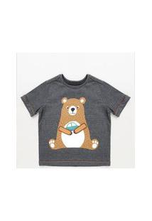 Camiseta Infantil Com Estampa Interativa De Urso Manga Curta Cinza Mescla Escuro