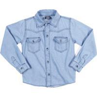085361e77b6f2 Camisa Jeans Manga Longa Infantil Tdv Masculina - Masculino-Azul