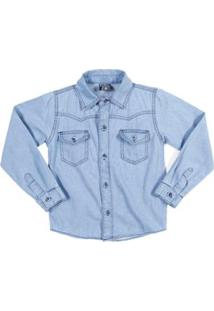 Camisa Jeans Manga Longa Infantil Tdv Masculina - Masculino-Azul