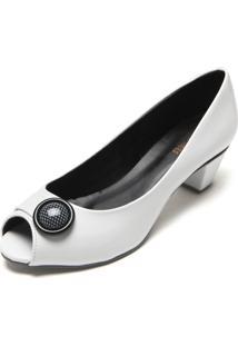 Peep Toe Dafiti Shoes Enfeite Branco