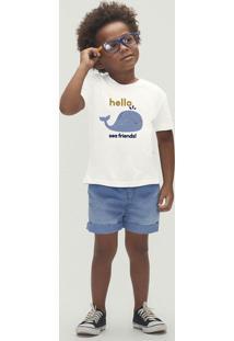 Conjunto Menino Em Jeans Manga Curta Com Bermuda Toddler