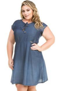 c5f3b71ea Vestido Confidencial Extra Plus Size Jeans Evasê Com Decote Trançado  Feminino - Feminino-Azul Escuro