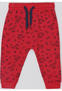 Calça Infantil Estampada De Carrinhos Em Moletom Vermelho