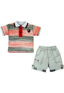 Conjunto Polo Shorts Meia Malha Oxford Menino Flamengo Reve Dor - 2 Anos - Masculino