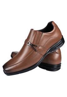 Sapato Social Masculino Em Couro Ortopédico Hype Caramelo