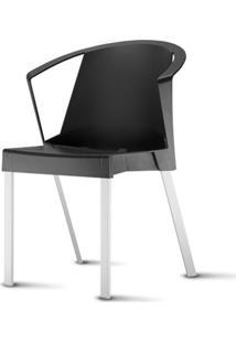 Cadeira Shine Assento Preto Com Bracos Base Aluminio Cinza - 54059 Sun House