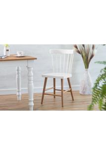 Cadeira Para Mesa De Madeira Folk Verniz Jatobá E Branco 45X46X83Cm