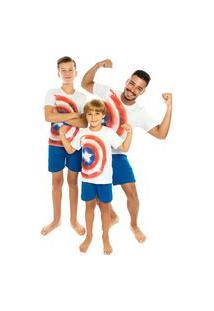 Pijama Masculino Camiseta E Bermuda Capitáo América