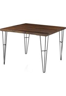 Mesa Jantar Bronx Quadrada Rustic Brown Base Grafite 1,20 Mt (Larg) - 54480 - Sun House