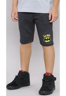 Bermuda Infantil Batman Em Moletom Com Bolso E Cordão Cinza Mescla Escuro