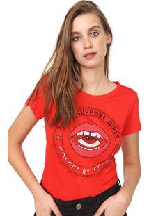 Camiseta Colcci Estampada Vermelha