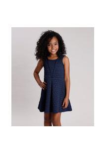 Vestido Infantil Matelassê Coração Sem Manga Azul Marinho