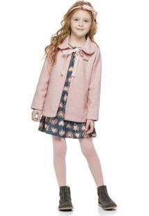 Casaco Infantil Tweed Quimby Feminino - Feminino-Rosa Claro