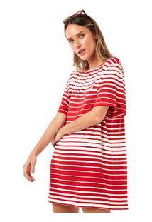 Vestido Curto Listrado Irregular Vermelho/Branco