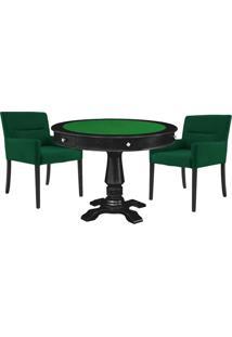 Mesa De Jogos Carteado Victoria Redonda Tampo Reversível Preto Com Kit 2 Cadeiras Vicenza Verde - Gran Belo