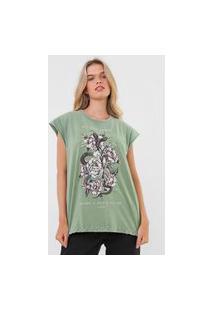 Camiseta Colcci Floral Verde
