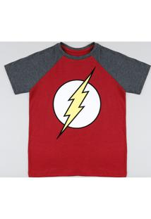 Camiseta Infantil The Flash Raglan Manga Curta Gola Careca Vermelha
