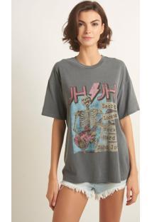 Camiseta John John Secret Rock Malha Cinza Feminina (Cinza Medio, M)