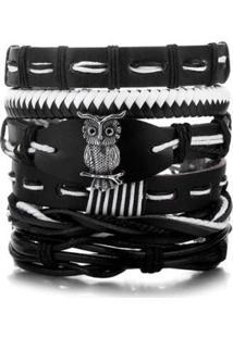 Bracelete Artestore 5 Em 1 Pulseira Em Couro Com Coruja Em Metal - Unissex-Preto