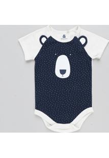 Body Infantil Urso Com Orelhas Manga Curta Decote Redondo Bege Claro