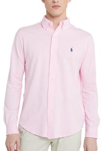 Camisa Ralph Lauren Masculina Custom Fit Oxford Rosa