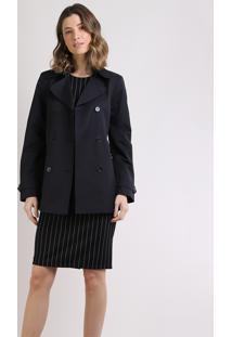 Casaco Trench Coat Feminino Transpassado Com Faixa Para Amarrar Preto