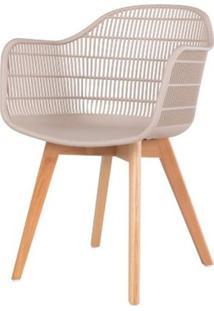 Cadeira Com Bracos Angelita Nude Pes Madeira - 50048 - Sun House